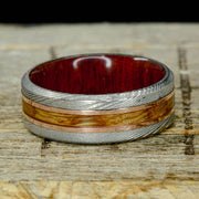 Damascus Steel, Rose Gold, Jack Daniels Wood & Bloodwood ***