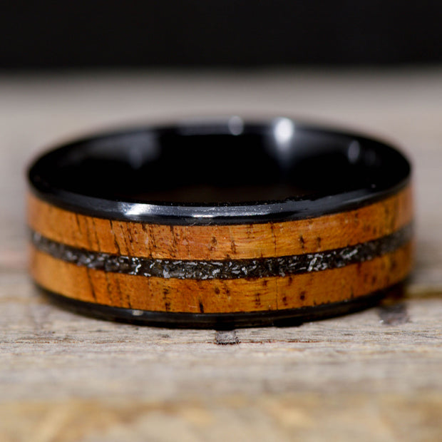 Koa Wood & Meteorite in Tungsten or Ceramic Channel