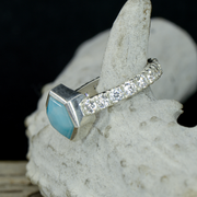 Faceted Larimar and Moissanite Engagement Ring