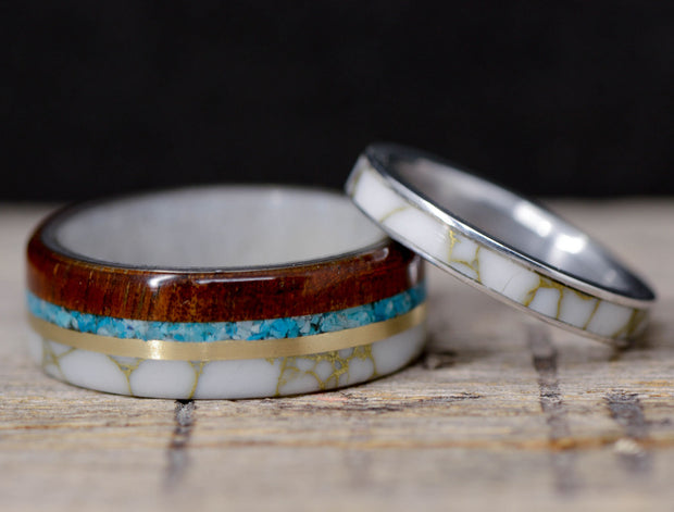 Koa Wood, Yellow Gold, Turquoise, & White Marble