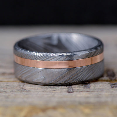 Damascus Steel & Offset Rose Gold ***