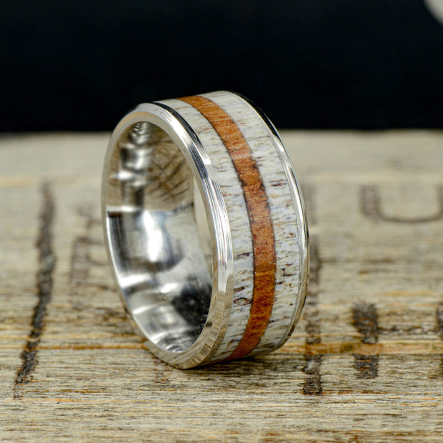 Elk Antler & Koa Wood in Tungsten or Ceramic Channel ***