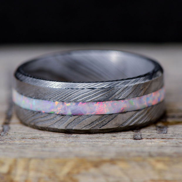 Damascus Steel & White Opal