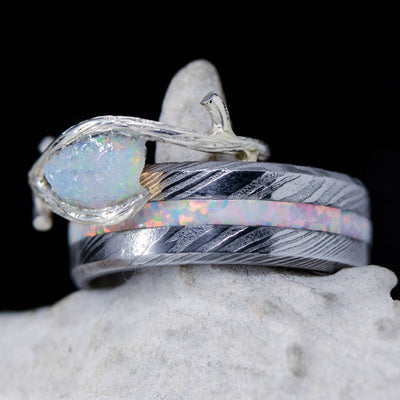 Damascus Steel, White Opal, & Tree Branch Ring