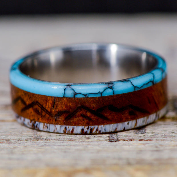 Rosewood, Turquoise, & Antler with Engraved Mountains