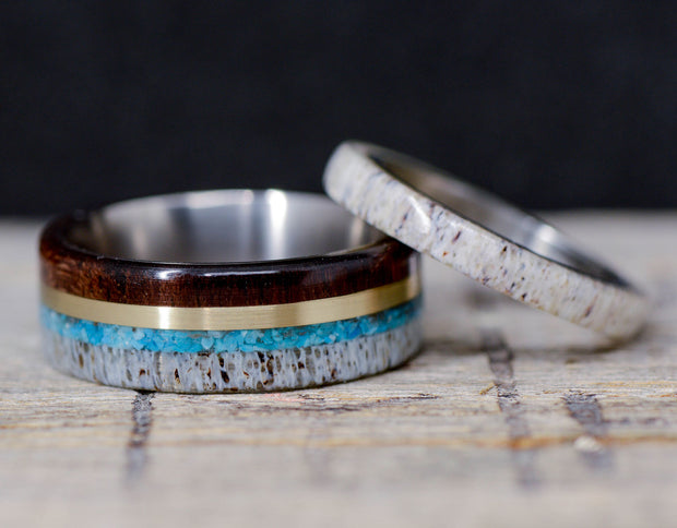 Walnut, Yellow Gold, Turquoise, & Antler