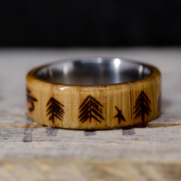 White Oak with Engraved Trees & Fishing Fly