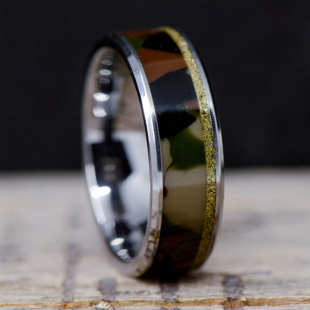 Camo & Brass Bullet Casing in Tungsten or Ceramic Channel