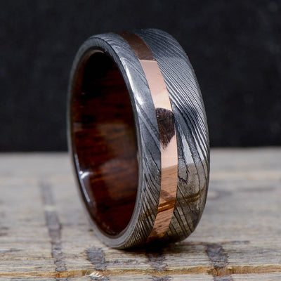 Damascus Steel, Rose Gold, & Walnut Wood