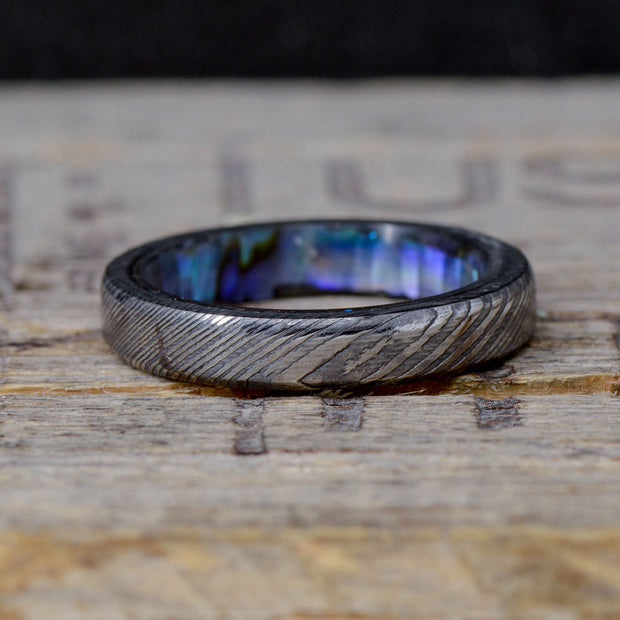 Damascus Steel with Abalone Shell Inside Band