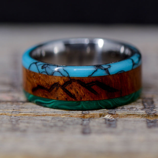 Green Malachite, Rosewood, and Turquoise with Engraved Mountains ***