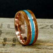 Jack Daniels Barrel Wood, Turquoise, & Rose Gold Pinstripes ***
