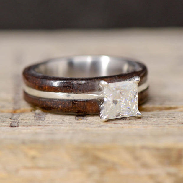 Walnut Wood with Square Diamond Setting