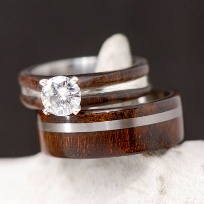 Walnut, Metal, & Diamond Setting