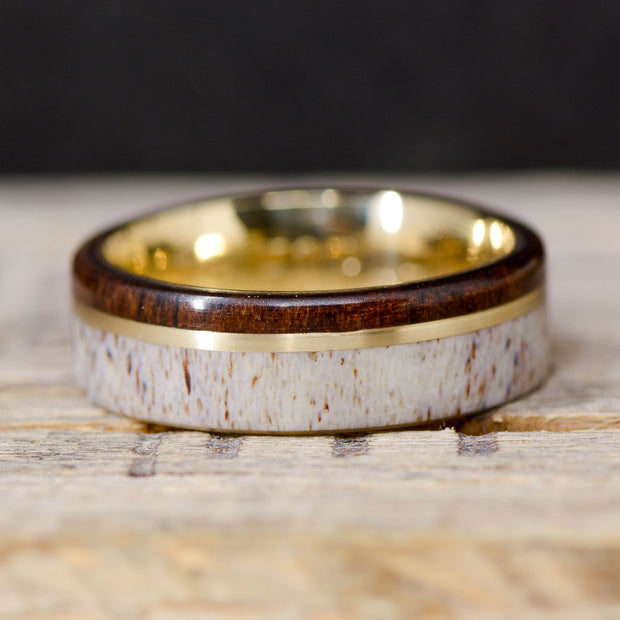 Walnut, Yellow Gold, & Elk Antler