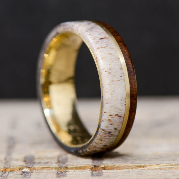 elk antler wedding band