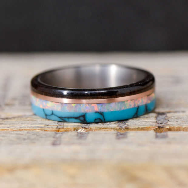 Blackwood, Rose Gold, Opal, & Turquoise