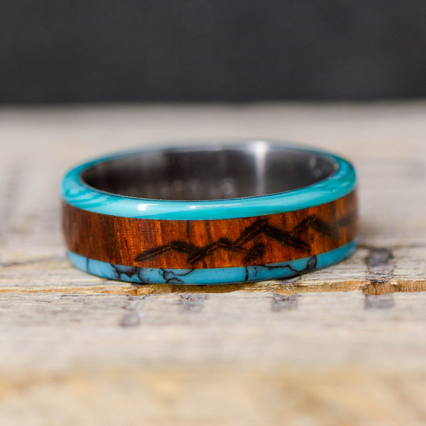 Turquoise, Rosewood, & Chrysocolla With Engraved Mountains