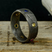 Endgame Infinity Gauntlet Ring, Gold, Damascus Steel, & Gemstones ***