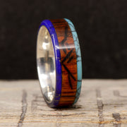 Lapis Lazuli, Turquoise, Rosewood with Engraved Mountains