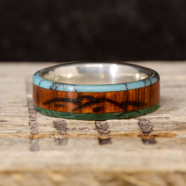 Rosewood, Turquoise, & Malachite with Engraved Mountains