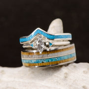 Marquise Diamond, Turquoise, antler, Oak, Guitar String
