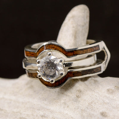 Diamond Solitaire With Koa Wood Ring Guard