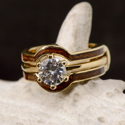 Moissanite Solitaire With Koa Wood Ring Guard