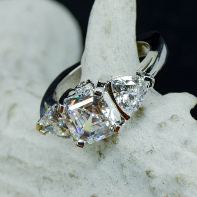 Asscher Cut Moissanite Solitaire with Accents and Euroshank