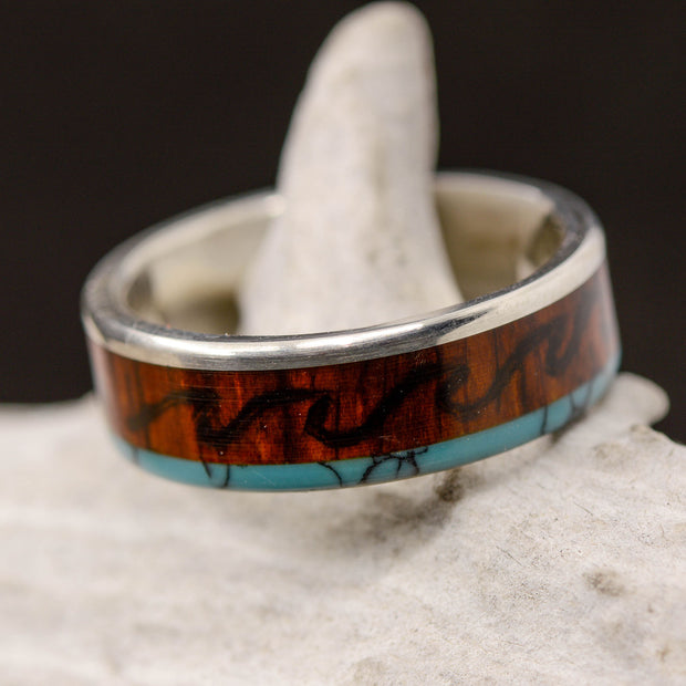 Metal, Rosewood with Engraved Mountains, Turquoise