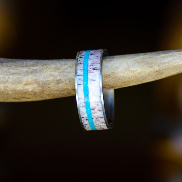Elk Antler & Offset Turquoise in Tungsten or Ceramic Channel