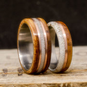 Antler, Rose Gold, & Jack Daniels Barrel Wood