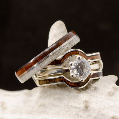 Moissanite Solitaire with Ring Guard, Koa Wood, & Antler