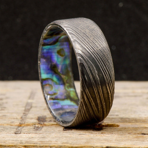 Stone Forge Studios Red Opal inlays; 4 Overlays Bass String Men/'s Ring: African Blackwood