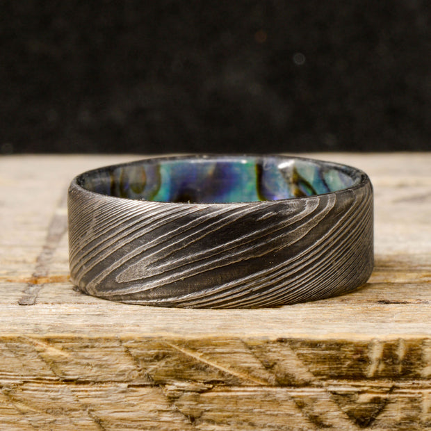 Abalone Shell in Dark Damascus Steel ***