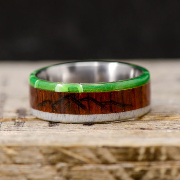 Elk Antler, Rosewood, & Green Emerald Acrylic with Engraved Mountains