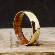 Yellow Gold with Oak Wood Inner Band 6mm