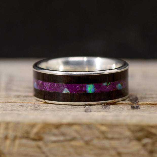 Blackwood, Sugilite, & Blue Opal in Tungsten or Ceramic Channel