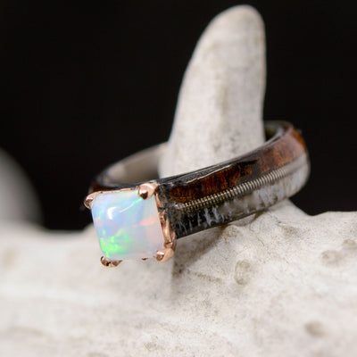 Ironwood, Antler, Guitar String & Square Opal