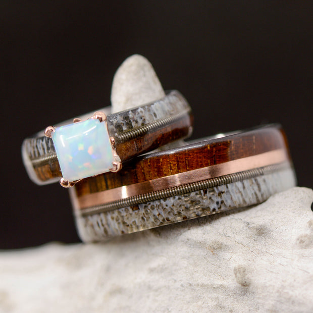 Opal Setting, Koa Wood, Rose Gold, Ironwood, Guitar String, & Antler