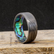 Abalone Shell in Dark Damascus Steel