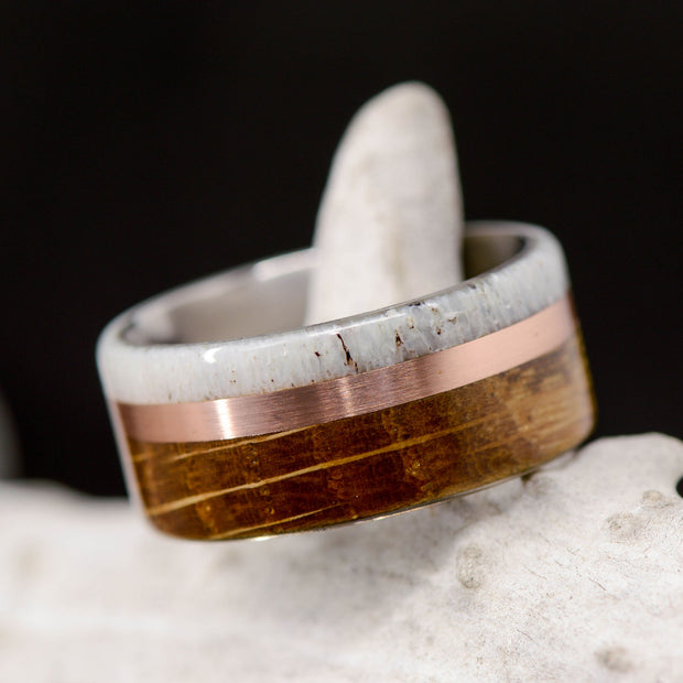 Jack Daniels Barrel Wood, Rose Gold, & Antler 10mm ***