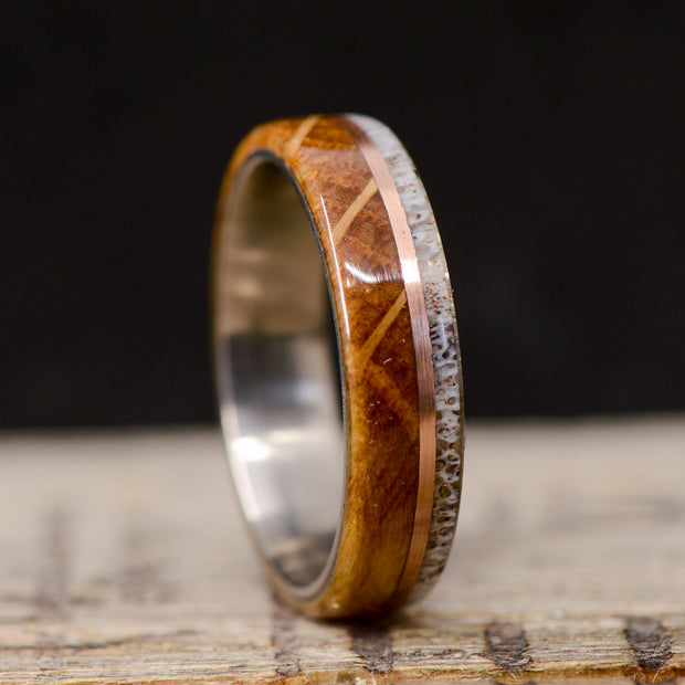 Jack Daniels Wood, Rose Gold, & Antler 6mm