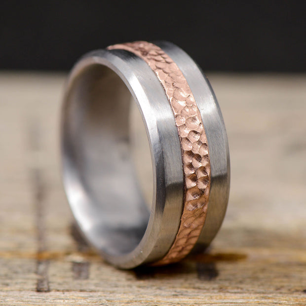 Hammered Rose Gold & Titanium