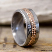 Hammered Rose Gold in Damascus Steel 9mm