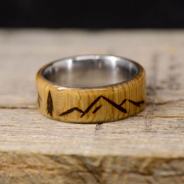 Oak with Engraved Mountains & Trees ***