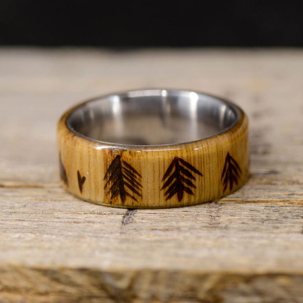 White Oak with Engraved Trees