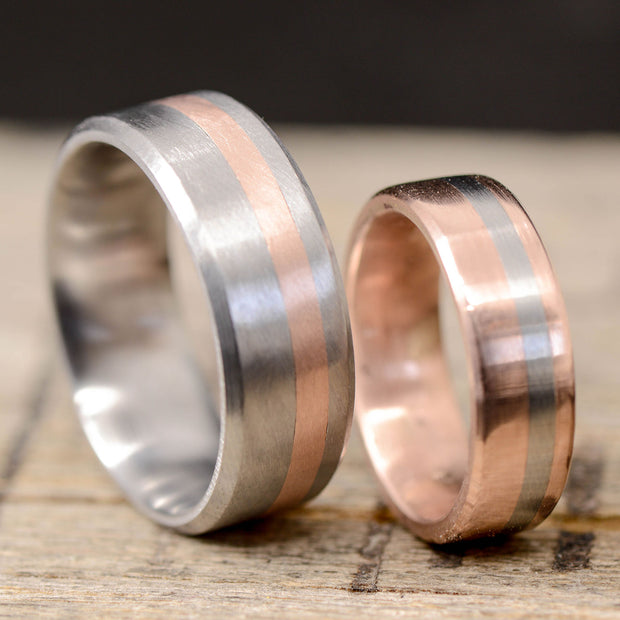 Rose Gold with Offset Titanium and Titanium with Offset Rose Gold