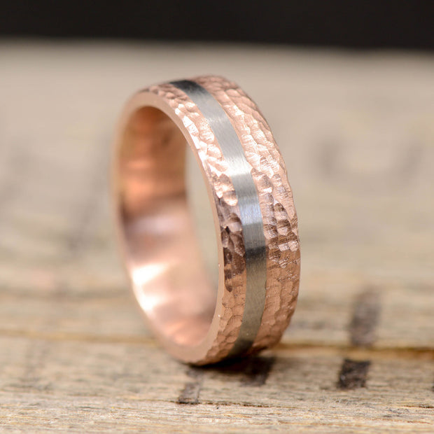 Hammered Rose Gold with Offset Titanium