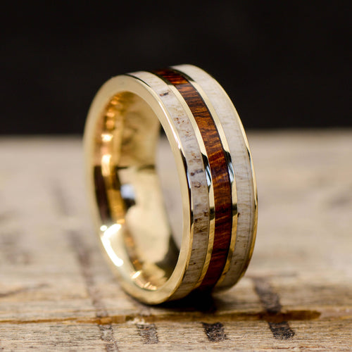 Turquoise Stone Forge Studios Men/'s Ring: Metal Rosewood with Engraved Mountains